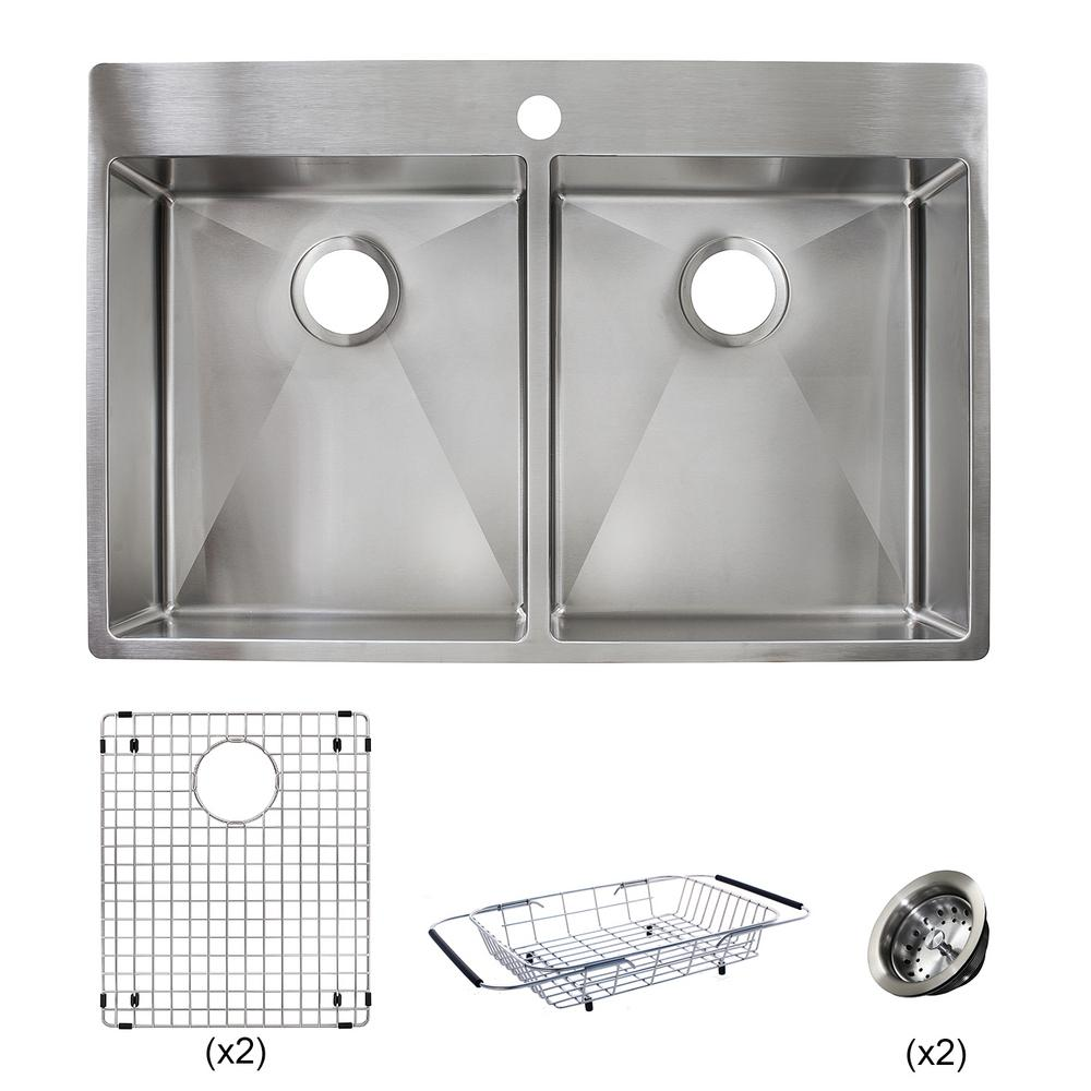 1000x1000 Franke Vector All In One Dual Mount Stainless Steel 33 In. 1 Hole