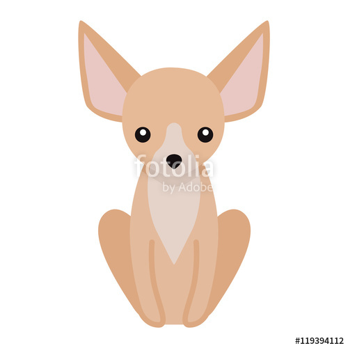 500x500 Flat Dog Pet Sitting Cute Dog Vector. Flat Dog Animal Pet Vector
