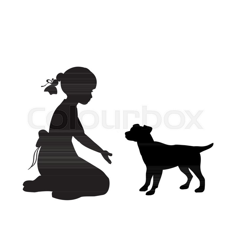 800x800 Silhouette Girl Sitting Knees Beckon Dog. Vector Illustration