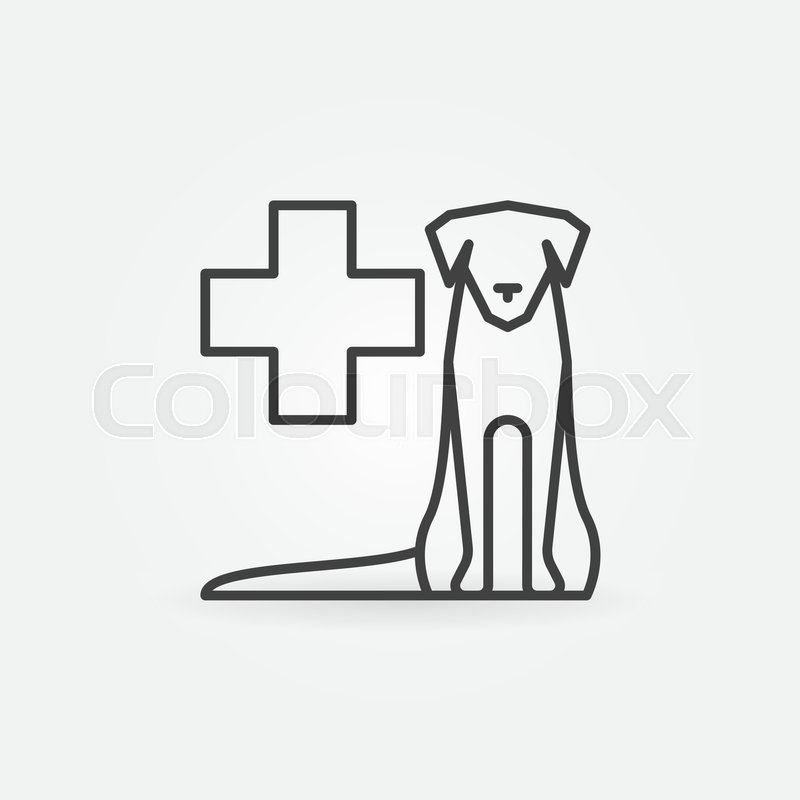 800x800 Sitting Dog With Medical Cross Outline Icon. Vector Veterinary