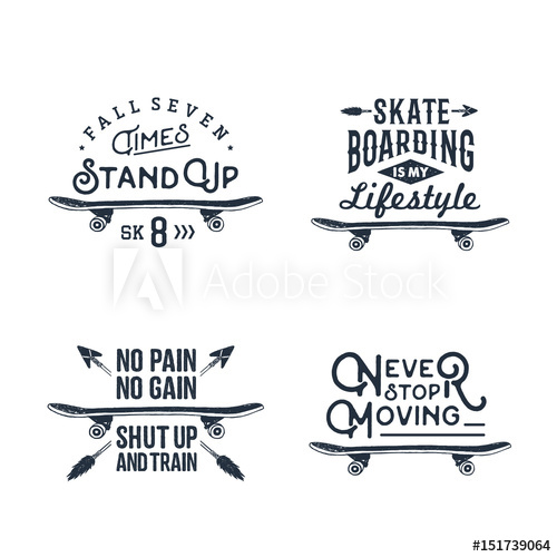 500x500 Hand Drawn 90s Themed Set Of Badges With Skateboard Vector