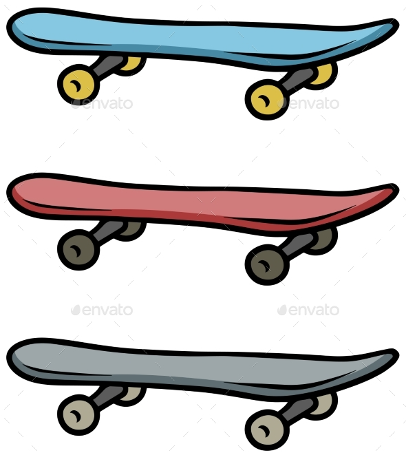 590x661 Cartoon Colored Skateboard Vector Icon Set By Gb Art Graphicriver