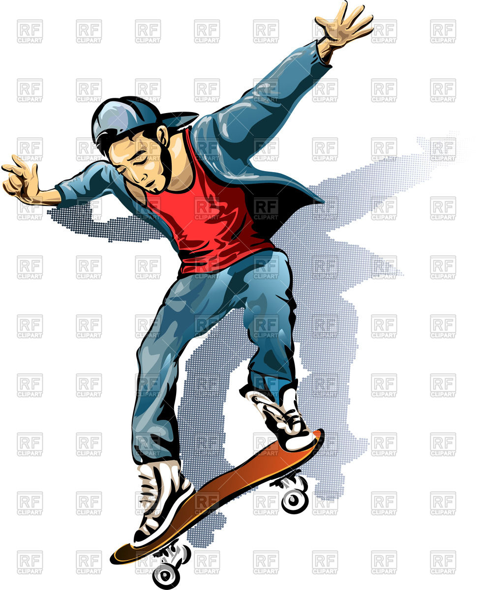 986x1200 Young Man On The Skateboard Vector Image Vector Artwork Of