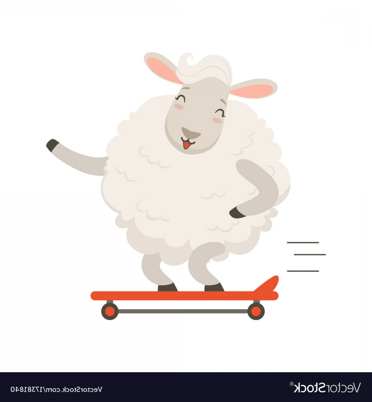 1200x1296 Cute White Sheep Character Riding A Skateboard Vector Rongholland