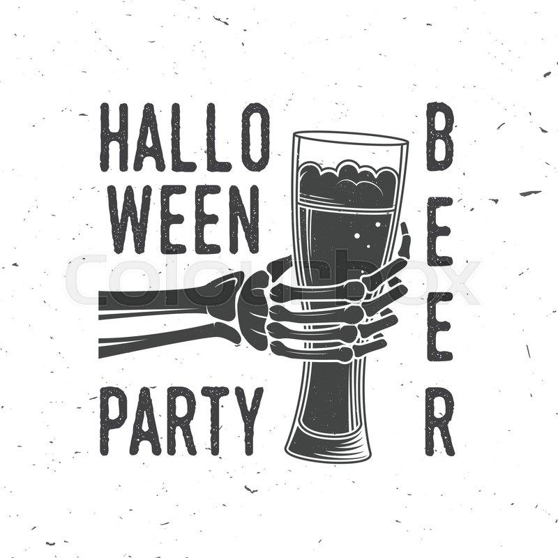 800x800 Halloween Beer Party. Vector Halloween Retro Badge. Overlay Or