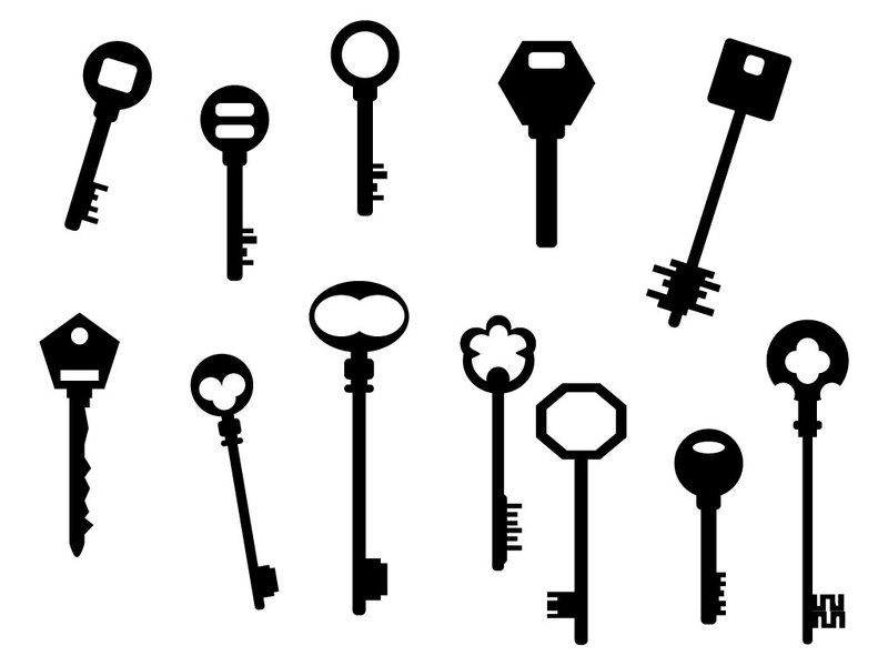 800x600 15 Key Vector Pattern Key Vector Art Silhouettes Skeleton Free