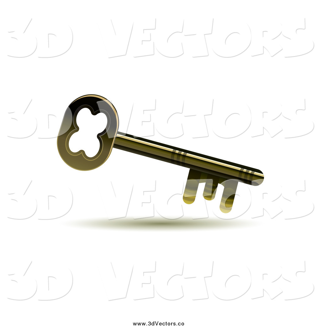 1024x1044 Vector Clipart Of A 3d Golden Skeleton Key By Milsiart