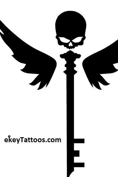 400x600 Collection Of New Black Ink Skeleton Key Tattoo Design