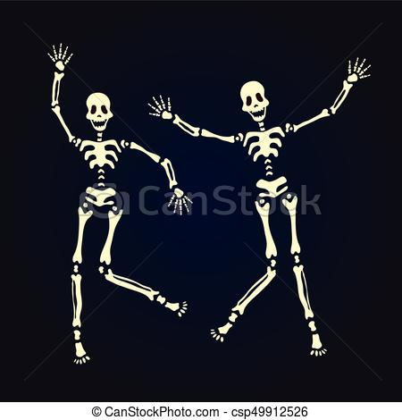450x470 Two Dancing Skeleton. Vector Illustration, Isolated On Black. Two