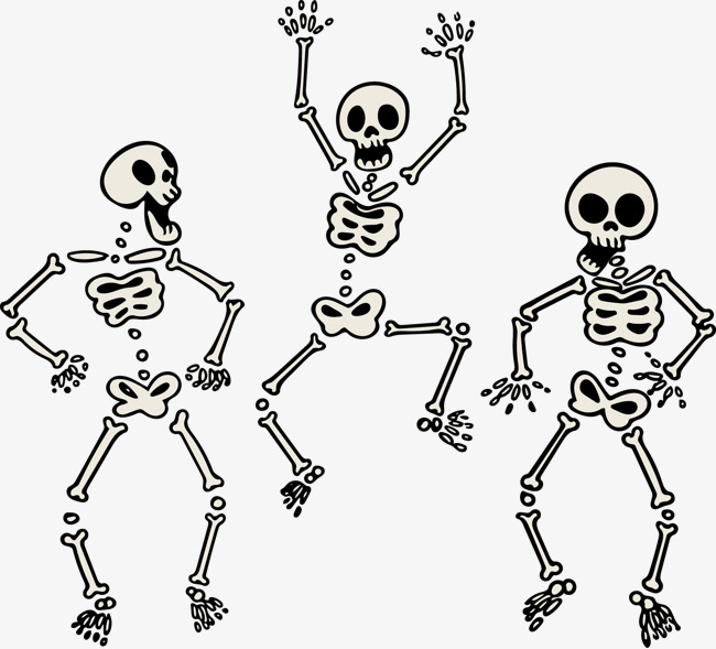 650x589 Vector Painted Three Skeletons Dancing Skeleton, Vector, Hand
