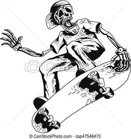 444x470 Skeleton Playing Skateboard. Isolated Illustration Of Skeleton