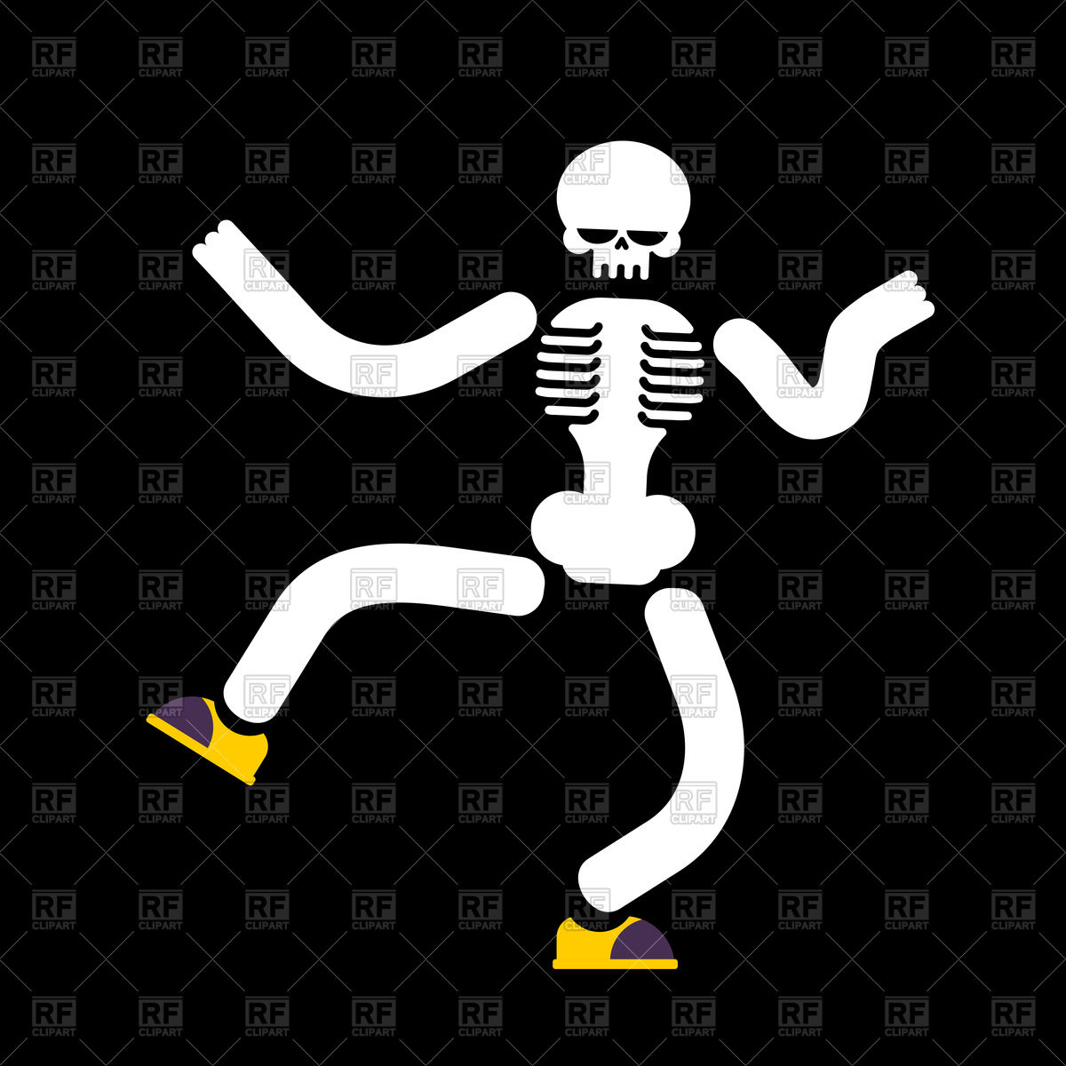 1200x1200 Dancing Skeleton On Black Background Vector Image Vector Artwork