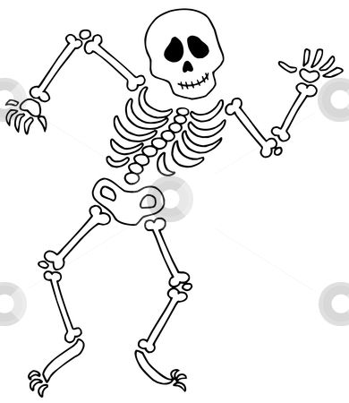 390x450 Skeleton Template Dancing Skeleton Vector Illustration