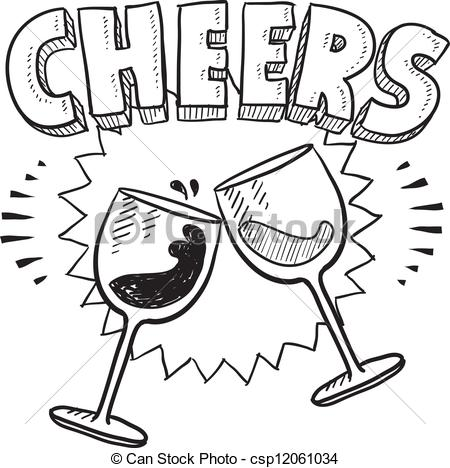 450x468 Cheers Celebration Sketch. Doodle Style Cheers Celebration