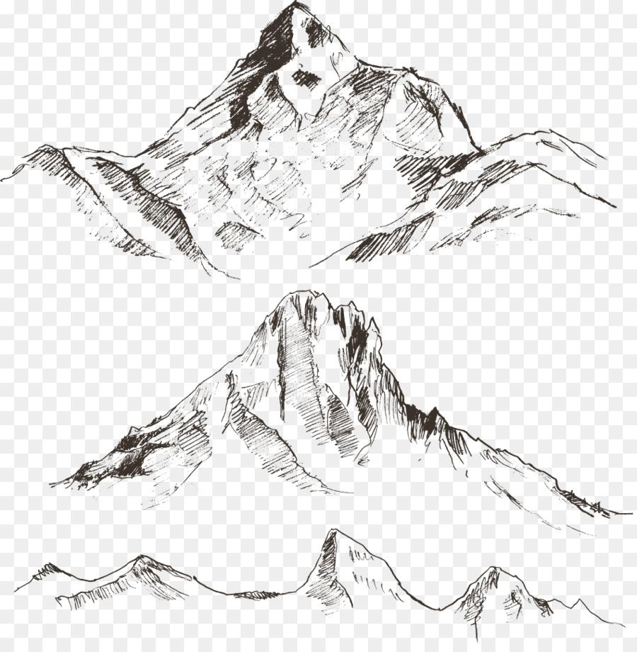 900x920 Drawing Mountain Sketch