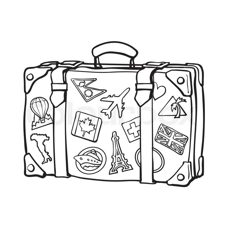 800x800 Hand Drawn Retro Style Travel Suitcase With Labels, Black And