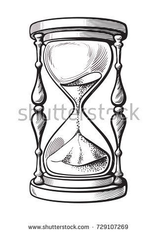318x470 Hourglass. Black And White Hand Drawn Sketch Vector Illustration