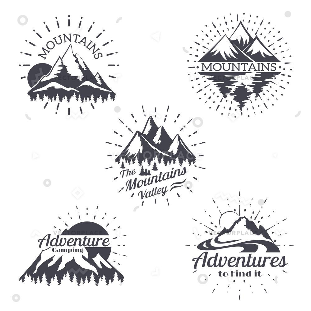 1000x1000 Mountain Sketch Logo Set Retro Style Vector Illustration 64748