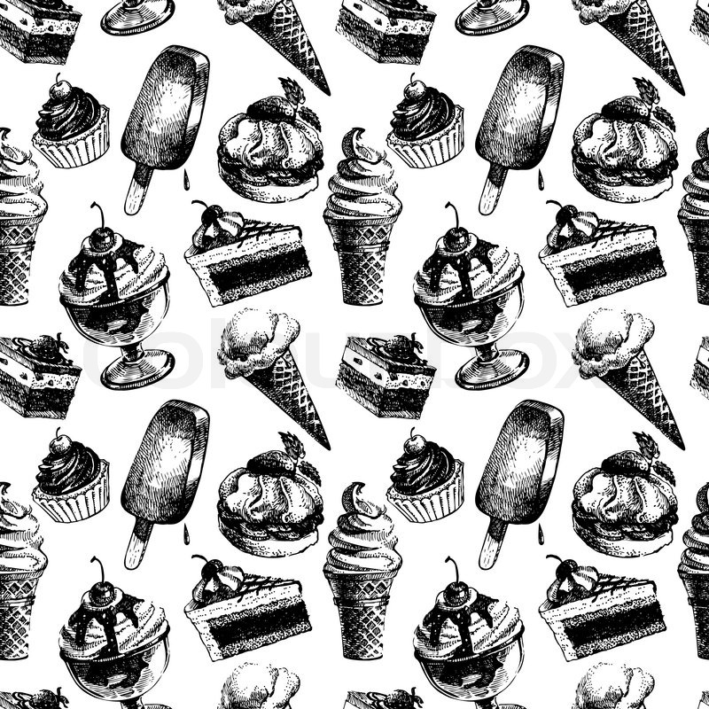 800x800 Seamless Pattern With Ice Cream And Cakes. Hand Drawn Sketch