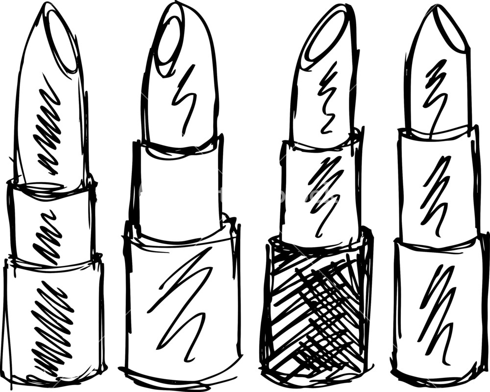 1000x801 Sketch Of Lipsticks Isolated On A White Background. Vector