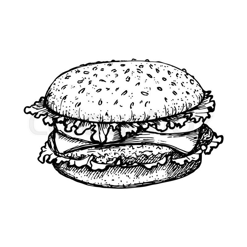 800x800 Sketch Hamburger Or Burger Vector Logo Design Template. Fast Food
