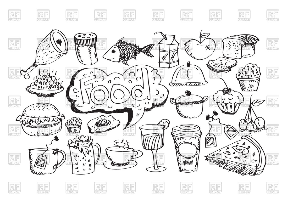 1200x848 Sketch Of Food Icons Vector Image Vector Artwork Of Food And
