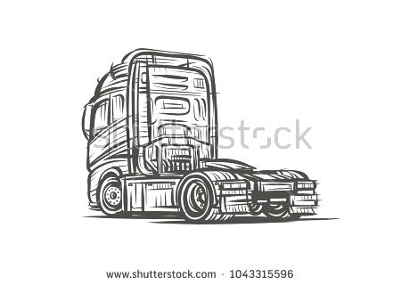 450x320 Truck Sketch Vector Of A Without Trailer Easy Screenshoot
