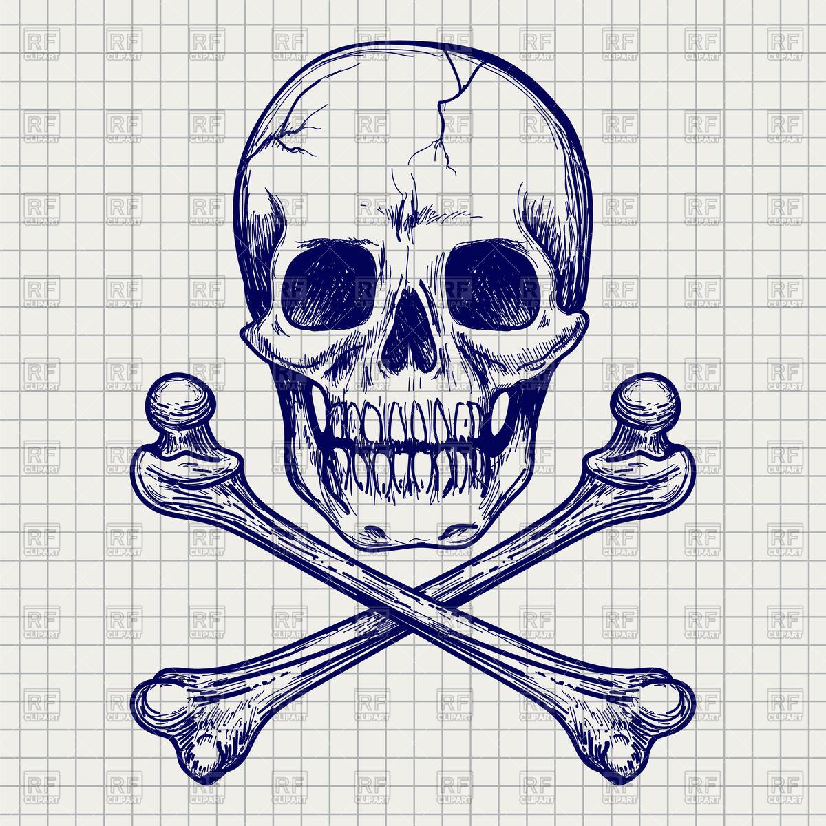 1200x1200 Ball Pen Sketch Of Skull And Cross Of Bones Vector Image Vector