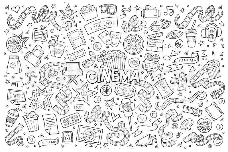 800x536 Cinema, Movie, Film Doodles Hand Drawn Sketchy Vector Symbols And