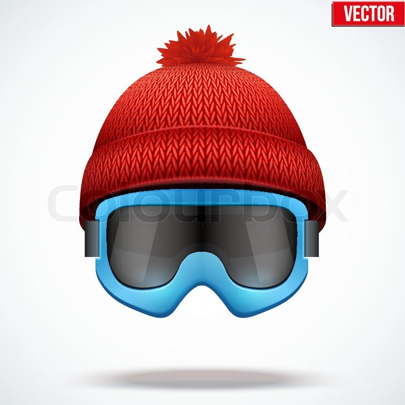 800x800 Knitted Woolen Red Cap With Snow Ski Goggles. Winter Seasonal