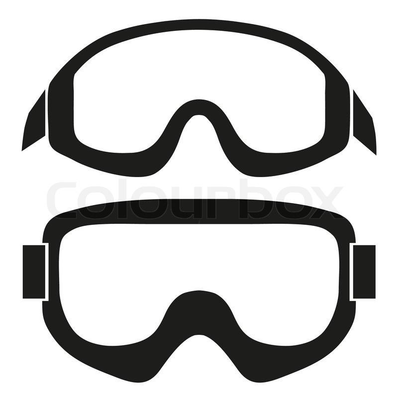800x800 Silhouette Symbol Of Classic Snowboard Ski Goggles. Simple Vector