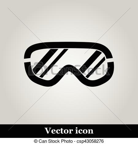 450x470 Ski Goggles Icon On Background, Vector Illustration.