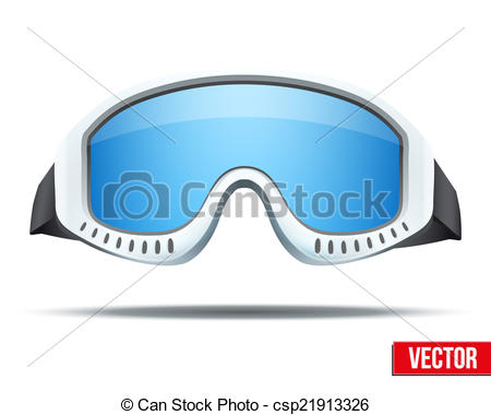 450x380 Classic Snowboard Ski Goggles With Colorful Glass. Vector Isolated