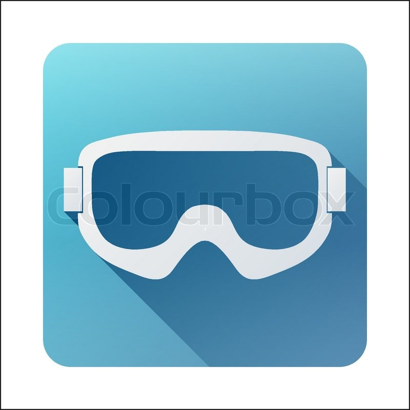 800x800 Flat Icon With Classic Old School Snowboard Ski Goggles. Vector