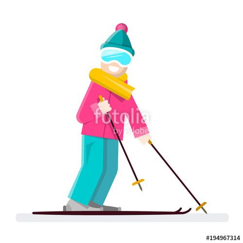 500x500 Man On Ski. Vector Skier Cartoon. Stock Image And Royalty Free