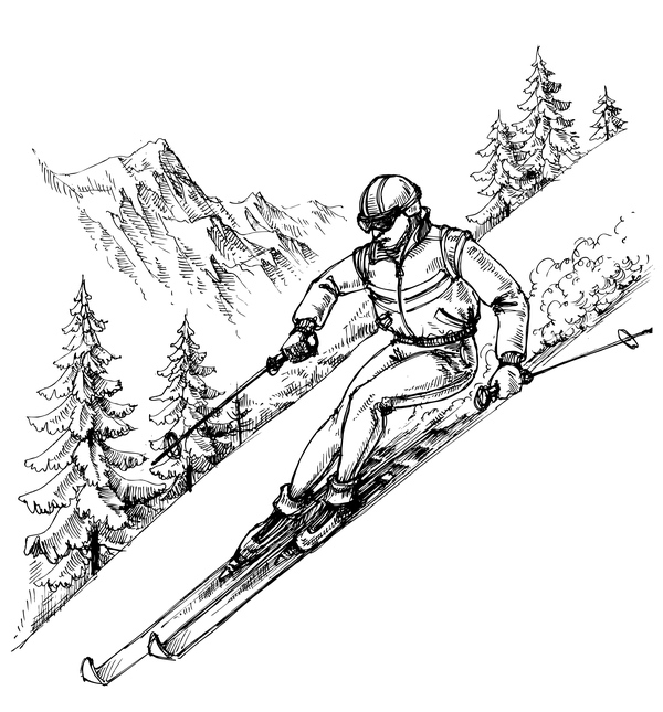 600x645 Mountains Landscape With Ski Sketch Vector 02 Free Download