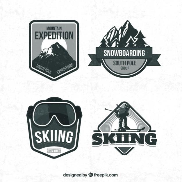 626x626 Retro Ski Badges Vector Free Download