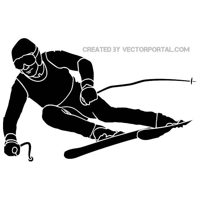660x660 Skier Silhouette Vector