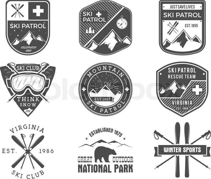 800x680 Set Of Ski Club, Patrol Labels. Vintage Mountain Winter Sports