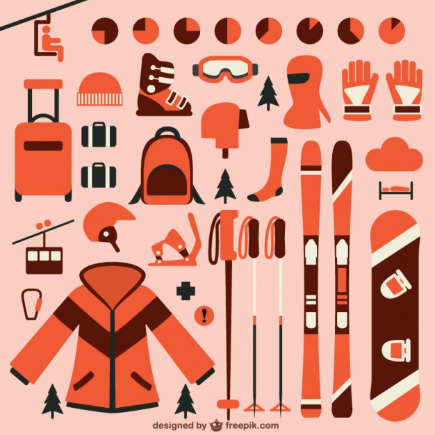 626x626 Ski Elements Collection Vector Free Download