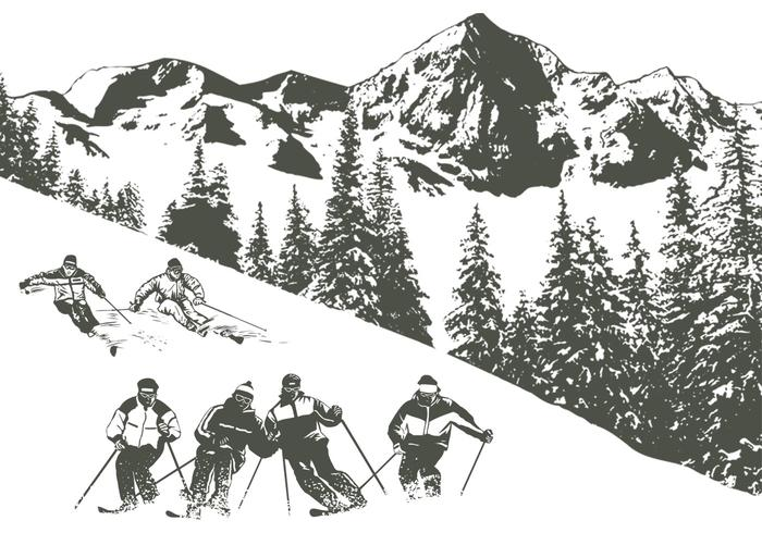 700x490 Snow Skiing Vector Pack