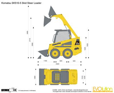 400x327 Komatsu Sk510 5 Skid Steer Loader Vector Drawing
