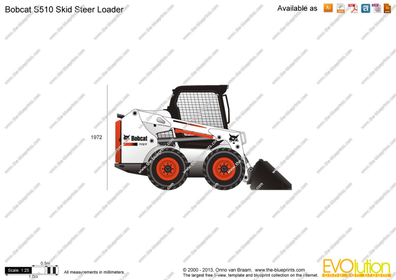 1280x905 Bobcat S510 Skid Steer Loader Vector Drawing