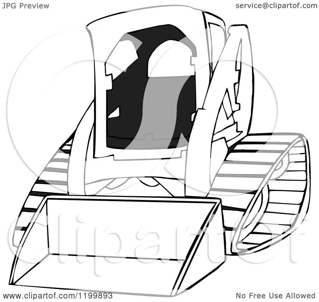 1080x1024 Cartoon Of An Outlined Bobcat Skid Steer Loader