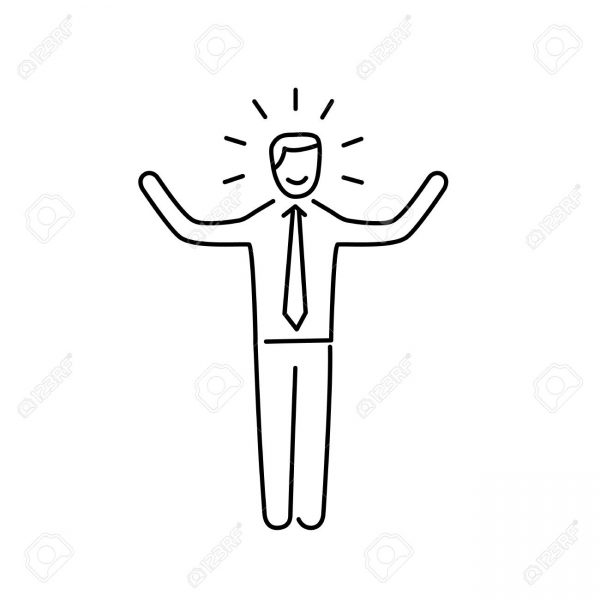 600x600 Vector Self Confidence Skills Icon Of Happy Businessman With With