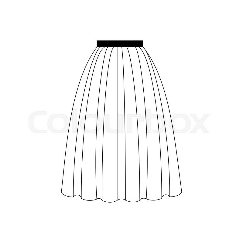 800x800 Skirt Vector Illustration. Long Skirt. Accordion Skirt. Vector