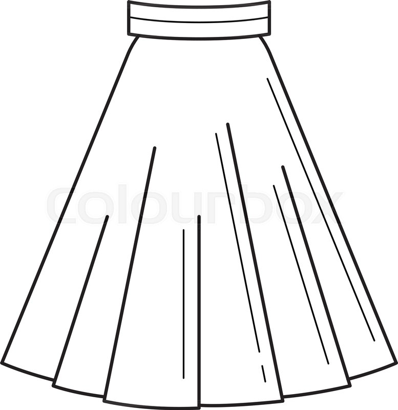 777x800 Skirt Vector Line Icon Isolated On White Background. Female Dress