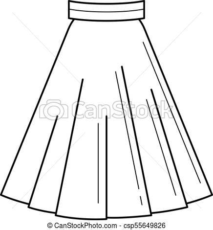 436x470 Skirt Vector Line Icon. Skirt Vector Line Icon Isolated On White