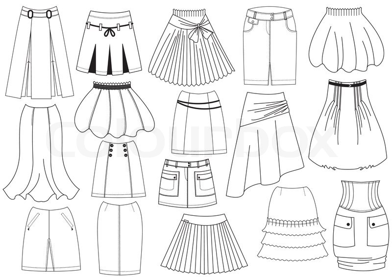 800x566 Vector Skirts For Woman Fashion On White Stock Vector Colourbox