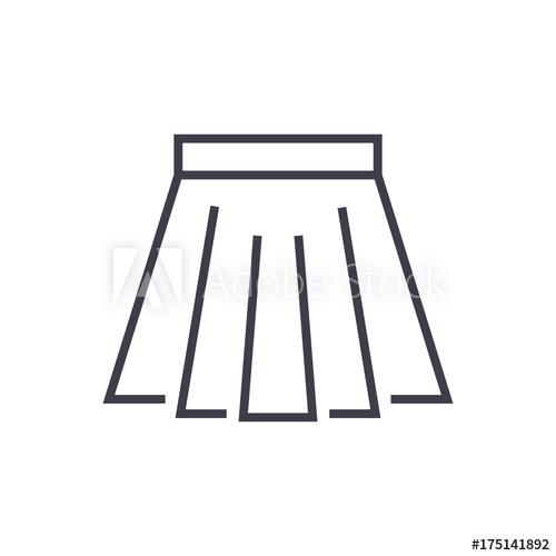 500x500 Short Skirt Vector Line Icon, Sign, Illustration On White